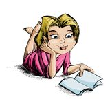 Girl reading Book royalty free illustration