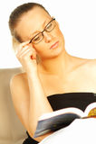 Girl reading book. Close up royalty free stock photo