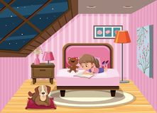 A girl reading book on the bed royalty free illustration