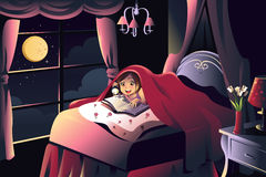 Girl reading a book in the bedroom. A  illustration of little girl reading a book in the bedroom under a blanket using a flash light Stock Photo