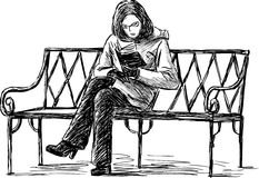 Girl reading the book on a bench. Vector sketch of a girl reading the book on a bench in the park Stock Image