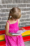Girl reading book on bench 5044 Royalty Free Stock Image