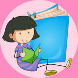 Girl reading book with big book background Royalty Free Stock Images