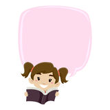 Girl Reading Book with Blank Speech Bubble Royalty Free Stock Photo