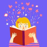 Girl reading a book cartoon illustration Stock Image