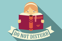 Girl reading a book, do not disturb sign, imagination and educat Royalty Free Stock Images