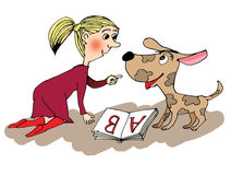 Girl reading a book with dog. Cartoon Stock Images