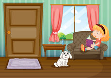 A girl reading a book with a dog. Illustration of a girl reading a book with a dog Stock Image