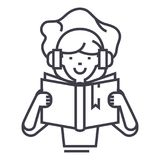 Girl reading book in earphones vector line icon, sign, illustration on background, editable strokes Stock Images