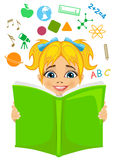 Girl reading a book with education related icons flying out. Imagination concept Stock Photography
