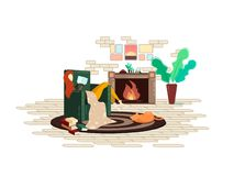 Girl reading a book on the fireplace stock illustration