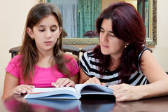 Girl reading a book with her beautiful mother Stock Images