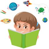 A girl reading book stock illustration