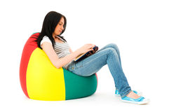 Girl reading the book isolated Royalty Free Stock Photos