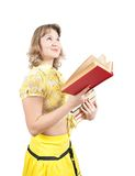 Girl reading book, isolated over white Royalty Free Stock Images