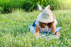 Girl reading book in tha park. Royalty Free Stock Photo