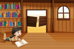 A girl reading a book in the library with a swingdoor. Illustration of a girl reading a book in the library with a swingdoor Stock Images