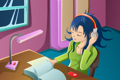 Girl reading a book while listening to music. A vector illustration of beautiful girl reading a book while listening to music in her bedroom Royalty Free Stock Photo