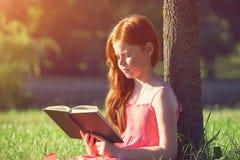 Girl reading book stock photos