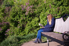 Girl reading a book in the park on the bench Stock Images