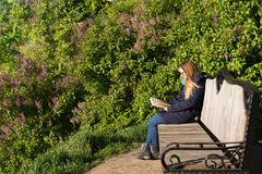 Girl reading a book in the park on the bench Stock Photo