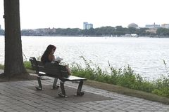 Girl reading a book in the park on the bench near Charles River in Boston, Massachusetts royalty free stock photo