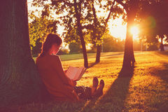 Girl reading book at park Royalty Free Stock Photography