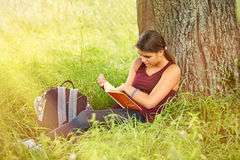 The girl is reading a book in the park in the summer Stock Images
