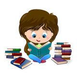 Girl reading a book Stock Images