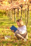 Girl reading a book sitting in the nature Royalty Free Stock Photography