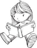 Girl Reading Book Sketch Vector Royalty Free Stock Photo