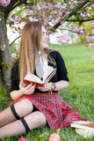Girl reading book / student reading a book/ in park /. Studing in park, A pretty girl reading a book, Learning in nature, Student, girl student, break between Royalty Free Stock Photos