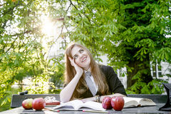 Girl reading book / student reading a book/ in park /. Studing in park, A pretty girl reading a book, Learning in nature, Student, girl student, break between Royalty Free Stock Photo