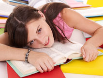 Girl reading  book on table. Royalty Free Stock Photos