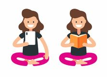 Girl reading book using mobile phone. Vector flat Royalty Free Stock Photos