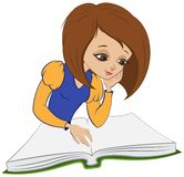Girl reading book. Vector cartoon Royalty Free Stock Photography