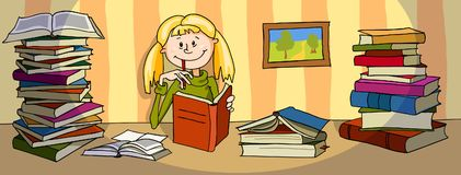 The girl is reading a book. The vector illustration of a girl with blond hair who is studying. She is sitting at the table, between large piles of books and Royalty Free Stock Images