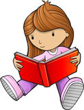 Girl Reading Book Vector Stock Photo