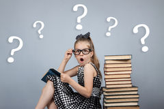 Girl  reading a book and is very surprised Stock Photo