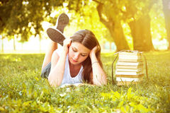 Girl reading a book. Royalty Free Stock Photo