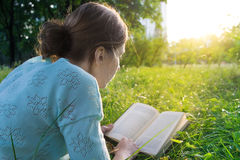 Girl reading a book. Young beautiful girl reading a book in the park Royalty Free Stock Photography
