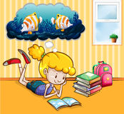 Girl reading books in the room. Illustration Royalty Free Stock Photos