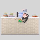 Girl reading on a brick wall Stock Photos