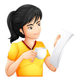 A girl reading while drinking Royalty Free Stock Photography