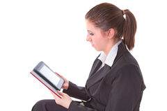 Girl reading on electronic book Royalty Free Stock Images