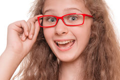 Girl with reading glasses Royalty Free Stock Image