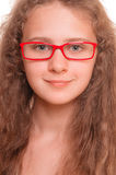 Girl with reading glasses Royalty Free Stock Photography