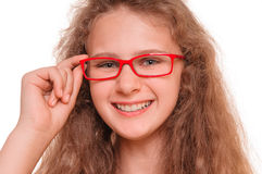 Girl with reading glasses Royalty Free Stock Images
