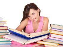 Girl reading group colored book . Stock Photos
