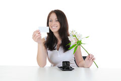 Girl reading a love note. Royalty Free Stock Image